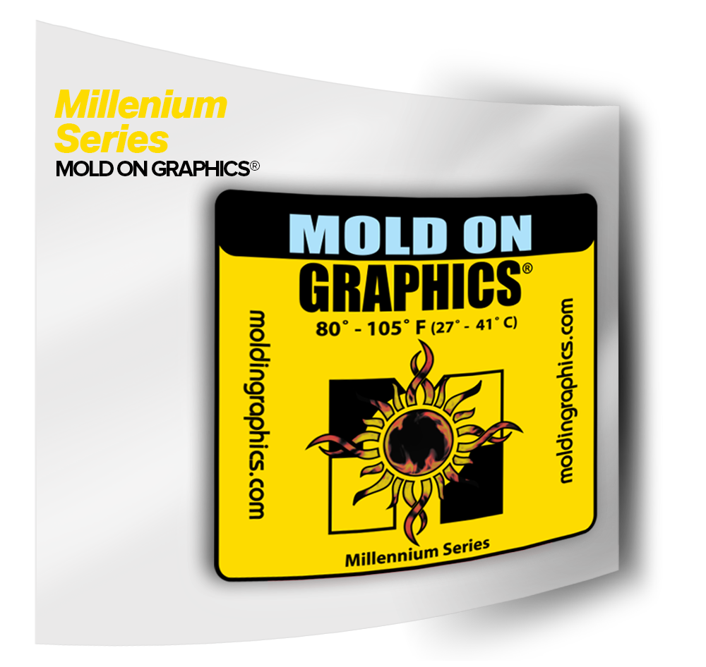 Mold On Graphics for labeling post molded plastics
