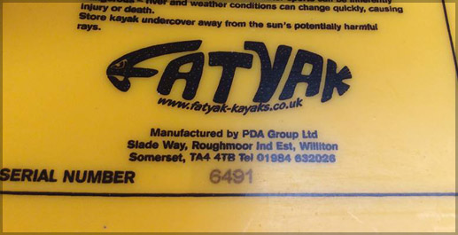 Mold In Graphics labeling rotomolded plastics - Fat Yak Kayaks Serial numbers